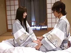 Yuu Asakura Asian in samurai outfit has snatch licked during 69
