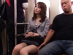 Kaede Matsushima is rubbed over mauve thong by fellow in a bus
