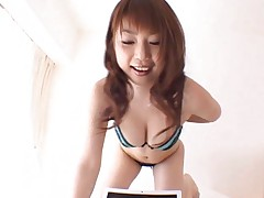 Risa Kasumi Asian puts her naked boobs over fellow laptop screen
