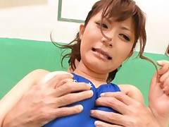 Haruki Sato Asian has pussy fucked with two fingers deeply by man