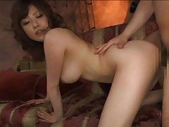 Rio Hamasaki Asian shakes big bobbies while being doggy fucked