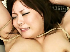 Hinata Komine Asian with big melons has body well tied in ropes