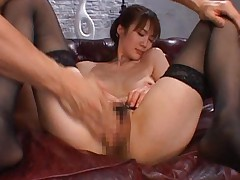 Erika Kirihara Asian with nude melons and stockings is rubbed