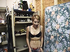 Prurient fella shooting his amateur porn actress while she's working his cock into her throat