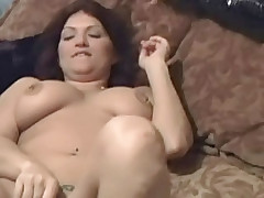 Pretty chubby brunette with shaven pussy working stiff pecker of her salacious seducer
