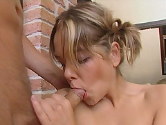 Teeny enjoys the taste of cock and cum and takes four fingers in her well-stretched cunt
