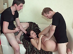 Teen beauty feels jizz from two big dicks on her nice boobs
