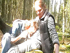 Have a look at this attractive ho sucking fella's stiff dick after having nice walk in the forest