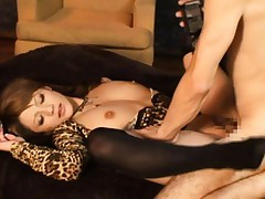 Risa Tsukino Asian in animal print outfit is screwed in chopper