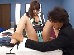 Rio Asian secretary sits with cut thong and high heels on office