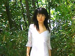 Lovely Japanese babe gets fucked in the woods by a guy she met walking