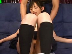 Shoko Mimura in a pleated skirt and knee socks ready for sex
