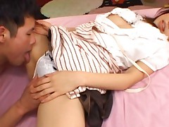 Miyuki Yokoyama rubs her clit over scanty with guy licking her