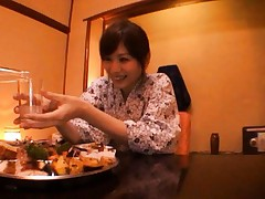 Yuma Asami Asian is horny and kisses fellow during their dinner