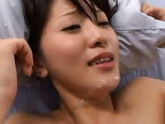 Aoi Mikuriya Asian gets sperm on face at the end of a strong fuck