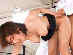 Yuma Asami Asian shakes big melons while is doggy style pumped
