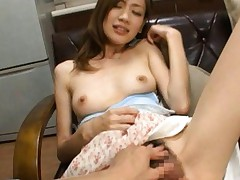 Kaori Maeda Asian topless has hairy vagina rubbed under dress
