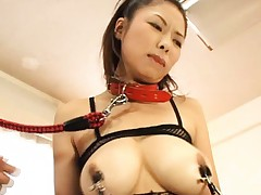 Yukari Iida Asian in fishnet has nipples of huge boobs in barbs
