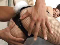 Eri Ouka Asian in fishnet has boobs taken out of her bunny suit