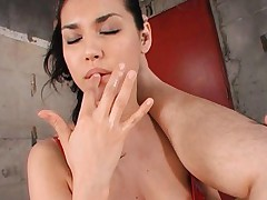 Maria Ozawa Asian in red latex is about to fuck man with strip on