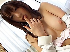 Naughty Japanese tramp enjoys making a show of her tits and pussy masturbation