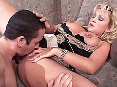 Blonde housewife Milan Summer gets her pussy licked before having it missionary fucked live