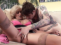 Blonde housewife Lexi Carrington getting pleasured having her pussy sucked by a tattoed guy live