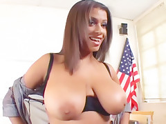 Horny wife Alexis Silver unbuttons her top to unleash her massive boobies and gets screwed live