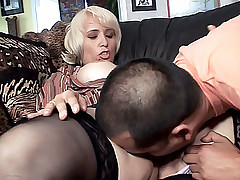 Blonde housewife Sophia gives her man an awesome deepthroat blowjob before getting fucked live