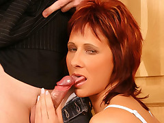 Redhead housewife Cindy meets up with her much younger lover and asks him to fuck her live