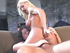 Big breasted blondie Barbara Summer stuffs her hole with a sex toy while getting fucked live
