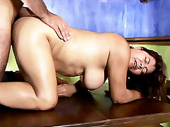 BBW Carina Lusitana gets pounded from behind then turns on her side for live spoon fucking