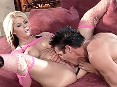 Blonde hottie Brooke Haven ends up having her big tits jizzed after a hardcore live anal banging