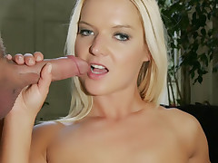 Sexy blondie Barbara Summer gives an unforgettable blowjob and experiences wild anal pounding live