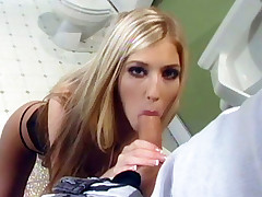 Big breasted Michelle B. and her hottie get nasty as they fuck their brains out in a public restroom live