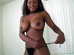 Nasty black chick Vida Valentine gets her wet snatch pounded hard by her lovers hard cock live