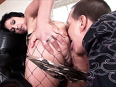 See this live blowjob scene featuring housewife Nicki Hunter in her nice fishnet stockings