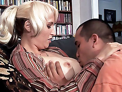Blonde housewife Sophia Mounds wears a sexy stockings while getting fucked from behind live