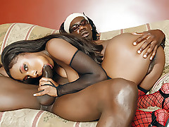 Ebony hottie Sydnee Capri goes down to suck a big schlong and got butt fucked and gooed live