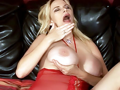 Huge boobed blondie Lynn Lemay gets her wet twat eaten and fucked hard by her horny black lover live