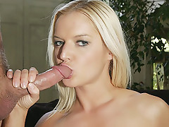 Slutty blondie Barbara Summer gives her stud a sinful oral delight and gets her sexy ass fucked live