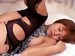 Cute Asian Sayaka Sugano acting sweet while slobbering a meaty cock and takes it her snatch live