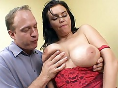 Scorching hot live sex with busty Angelica Sin rubbing her big boobs against a huge stiff cock