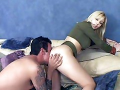 Nasty blondie Celestia Star gets her gaping anal eaten and pounded by a hard prick live
