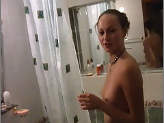 My girlfriend Tania is lying in the bath and shaving her lovely pussy hole and legs