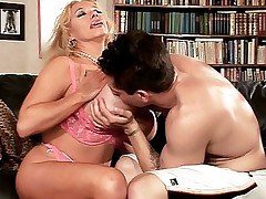 Busty housewife Echo Valley lays flat on the sofa getting her pussy hardcore drilled live