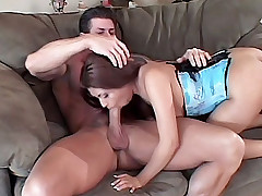 Pretty housewife Lena Julliett raises her right legs getting her pussy humped live while standing