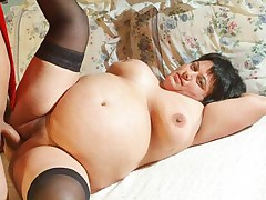 Stocking clad plumper gladly welcomes an erect schlong deep inside her chubby cooter live