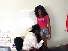 Ebony housewife Sydnee Capri takes off her panties and gets fucked hard by her lover live