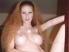 Big boobed redhead Annie Body moans in pleasure as she gets her hairy pussy banged hard live